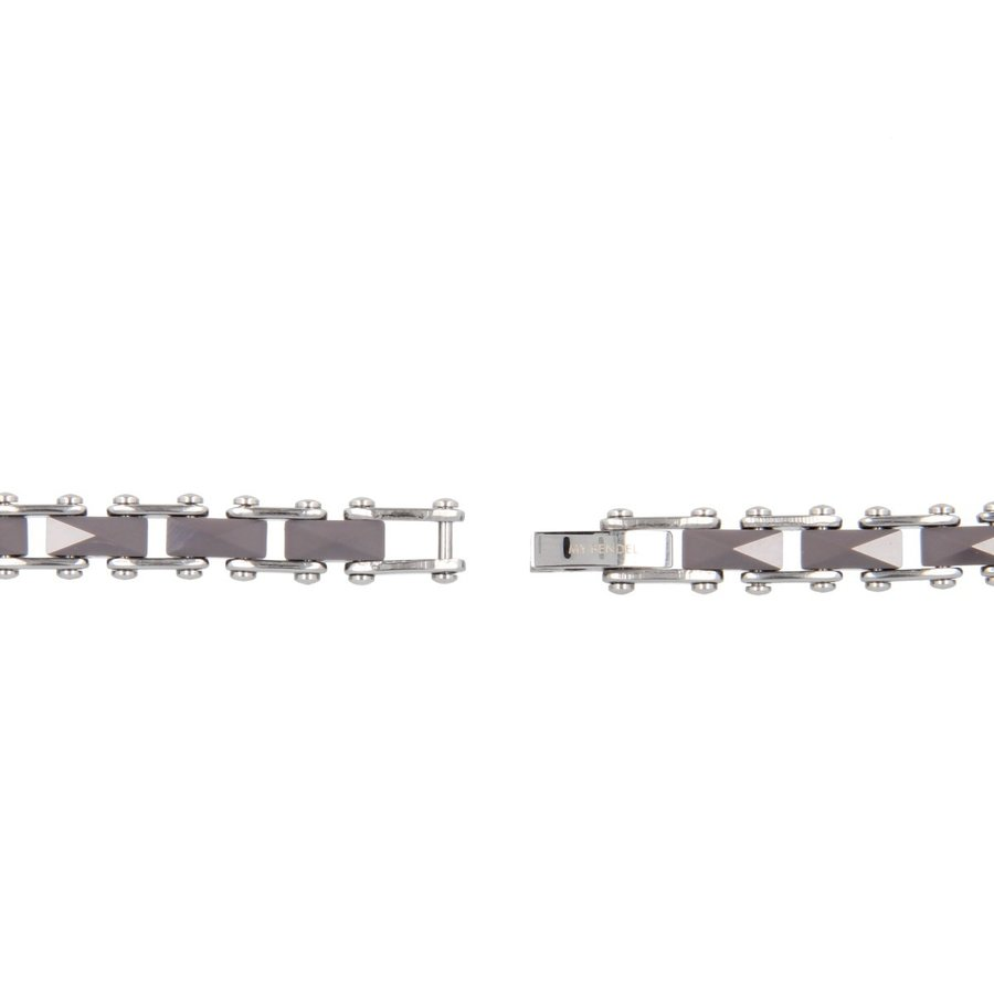 Godina Silver link bracelet of faceted gray ceramic with a silver heart