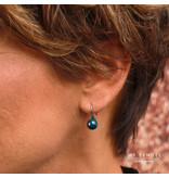 Godina Elegante zilverkleurige oorbellen met zwart keramiek