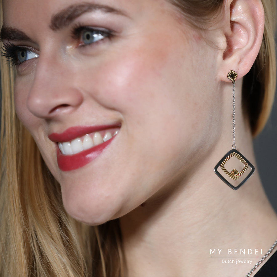 Hollywood Chic silver and gold stainless steel earrings