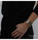 Hollywood Chique brede zilver- en goudkleurige edelstalen bangle