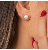 Godina Zilveren oorbellen met witte keramieken bol