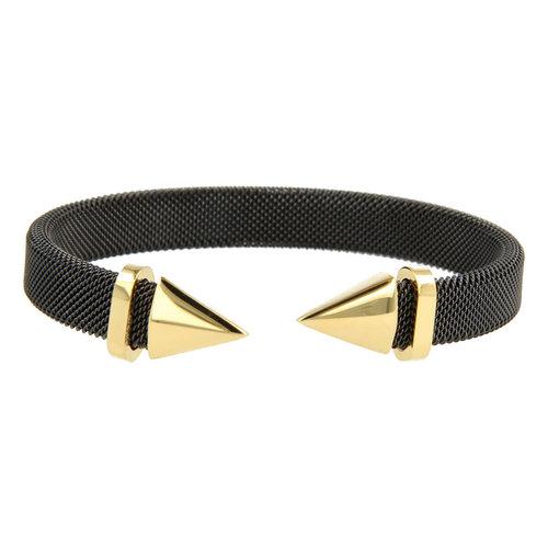 Bless My Bendel zwarte klemarmband met gouden punt