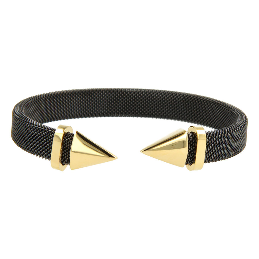 Bless Clip bracelet made of woven black stainless steel with gold tip