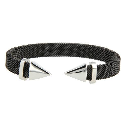 Bless My Bendel schwarzes Clip Armband mit silberner Spitze