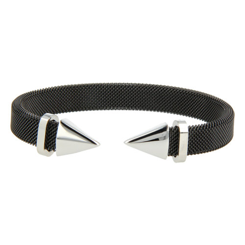 Bless My Bendel zwarte klemarmband met zilveren punt