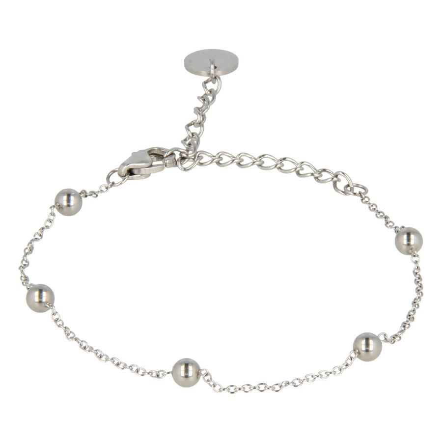 Godina Minimalistische zilverkleurige edelstalen armband met verfijnde bolletjes