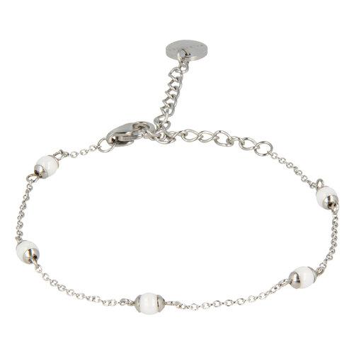 Godina My Bendel zilveren armband met witte bolletjes