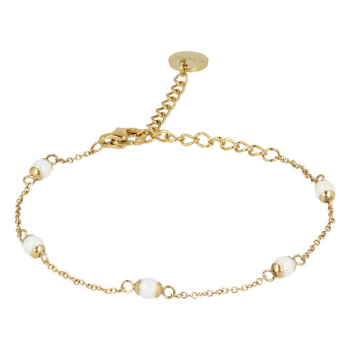 Godina My Bendel gold bracelet with white beads