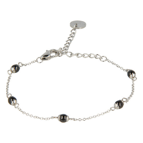 Godina My Bendel silver bracelet with black beads