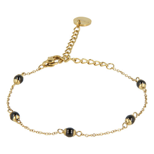 Godina My Bendel gold bracelet with black beads