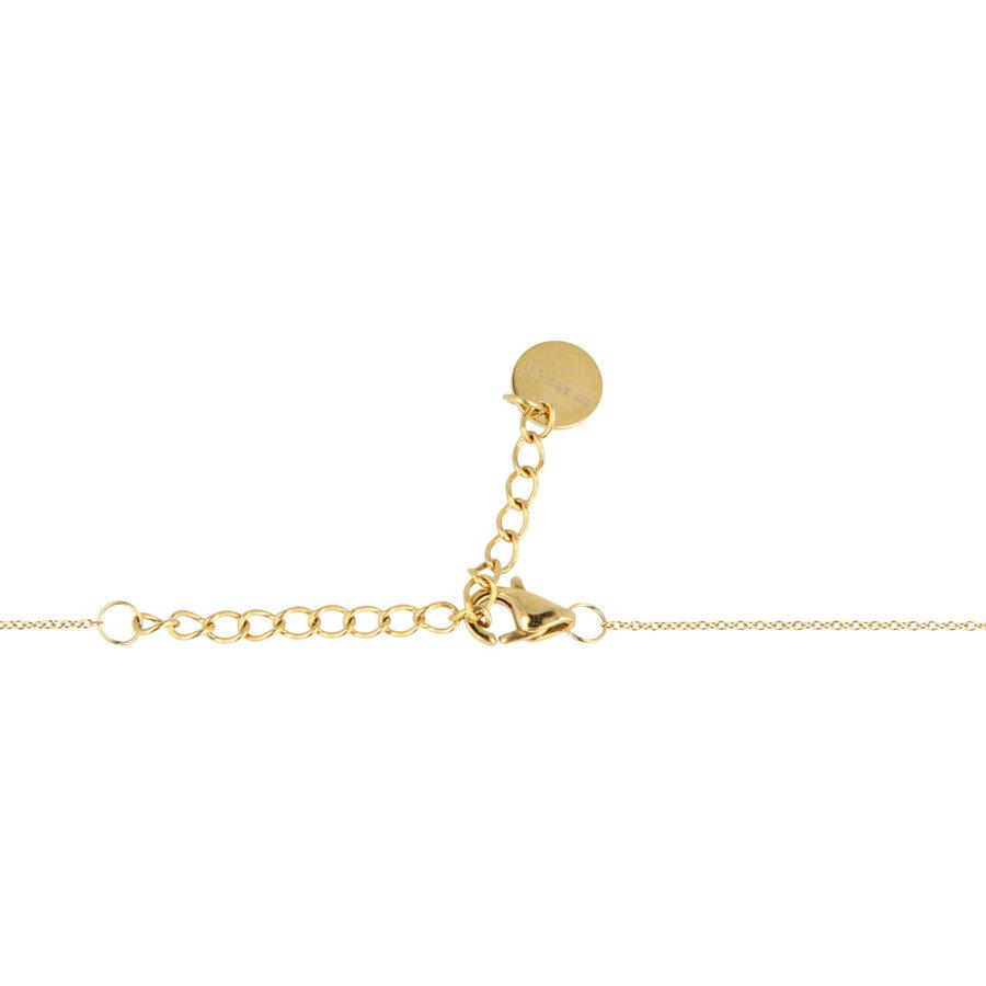 Godina Korte  goudkleurige ketting met  verfijnd wit keramieken bolletje