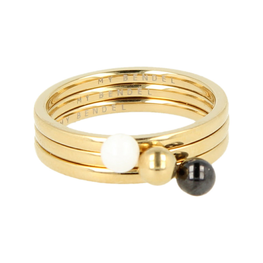 Godina Elegante goudkleurige edelstalen ring met bol