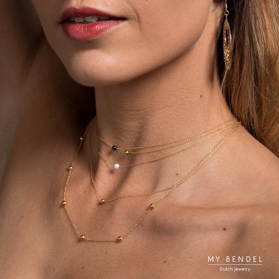Godina Doppelte goldene Halskette aus strapazierfähigem Edelstahl. Bleibt jahrelang schön.