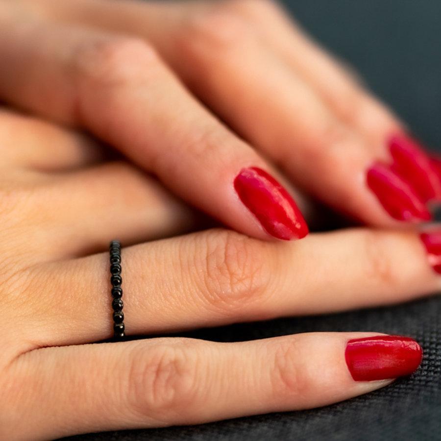 Picolo Leuke bolletjes ring - zwart-  gemaakt van mooi blijvend edelstaal