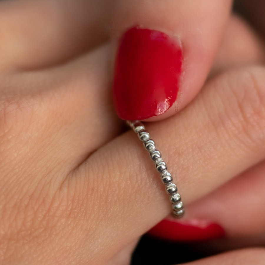 Picolo Schöner Perlenring - Silber - aus wunderschönem, langlebigem Edelstahl