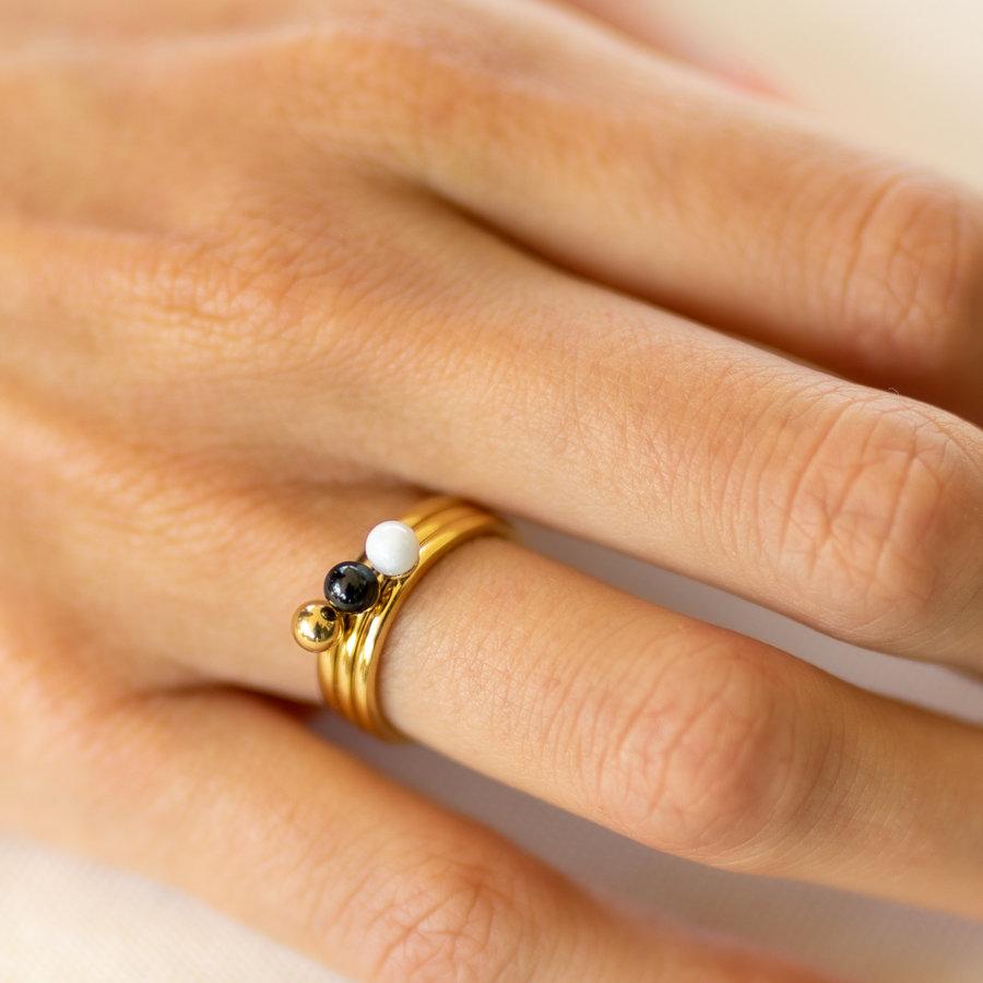 Godina Damenring Gold mit 4 mm weißer Perle