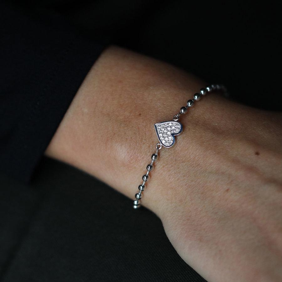 Picolo Zilveren armband met zirkonia hartje