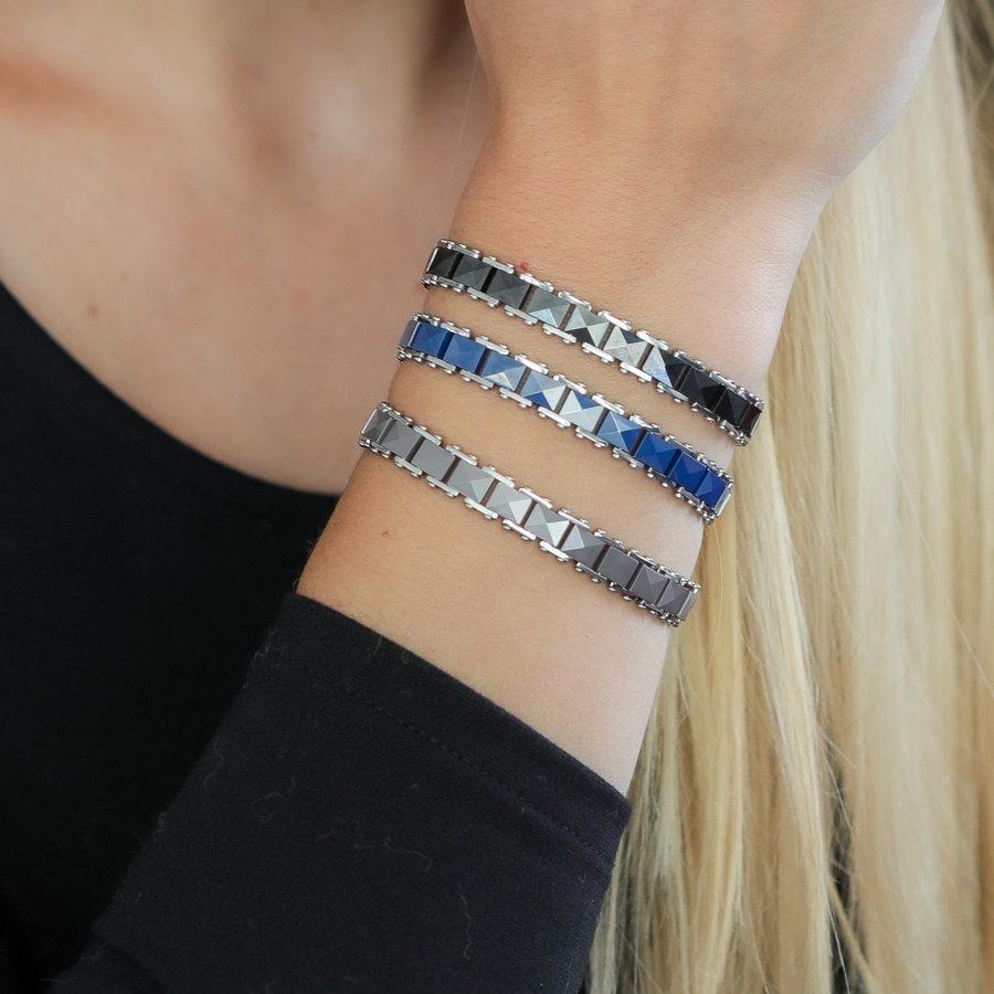 Godina Zilveren schakelarmband van facet grijs keramiek