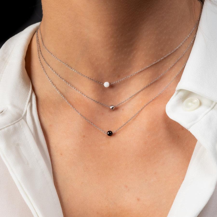 Godina Feine silberfarbene Halskette mit einer kleinen Perle