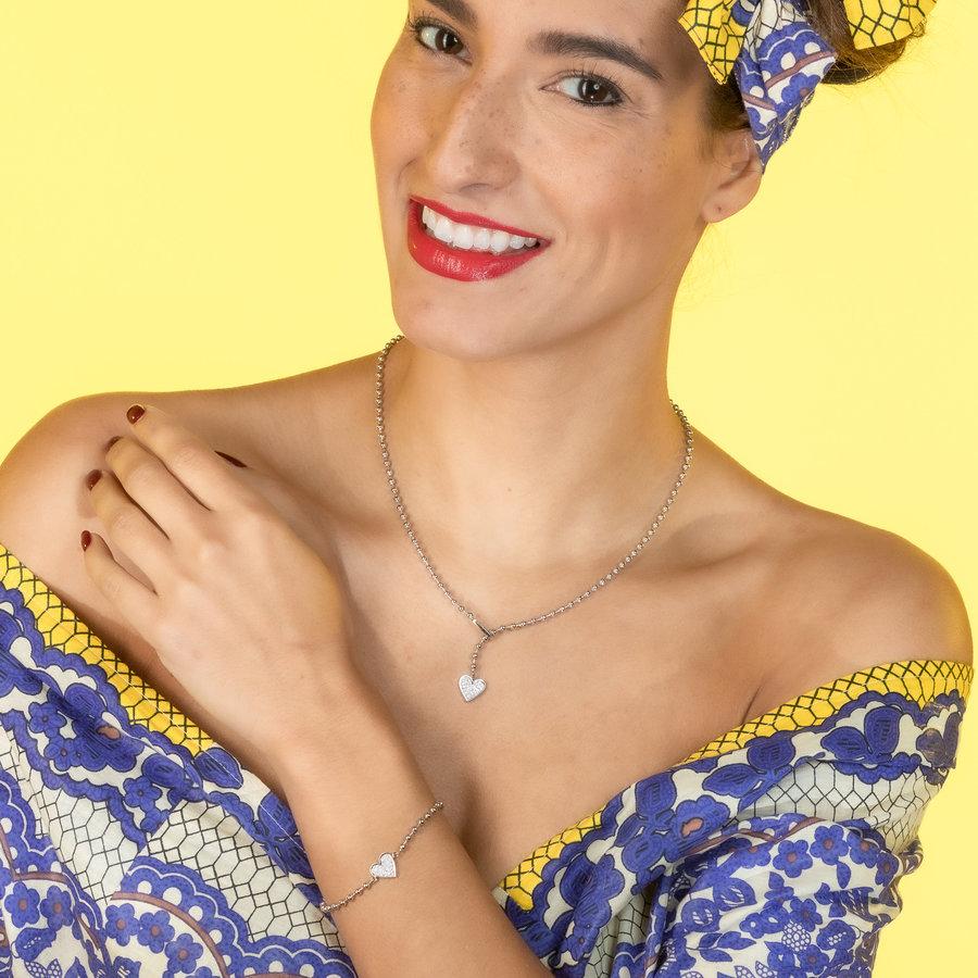 Picolo Rose gouden armband met zirkonia hartje