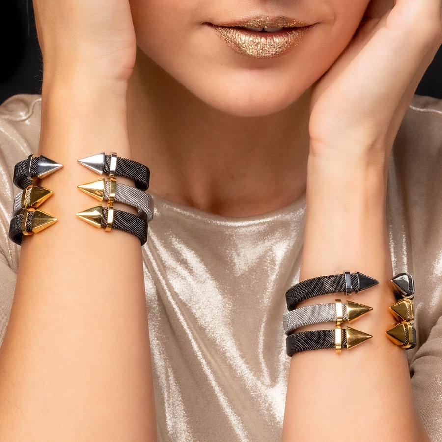 Bless Klemarmband van geweven zwart edelstaal met gouden punt