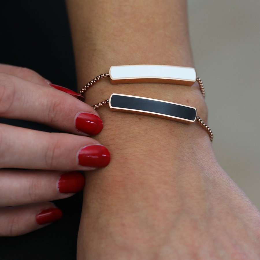 Katina Rose gold bracelet with white bead