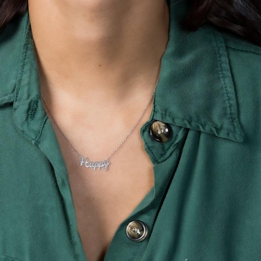 Picolo Schöne haltbare Silberkette mit HAPPY Charm. hypoallergen