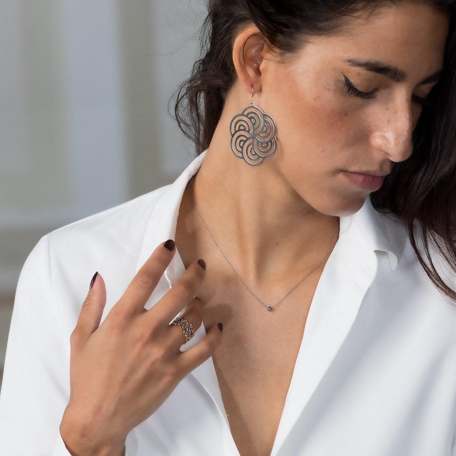 Bless Runde Ohrringe in Silber mit verziertem Design