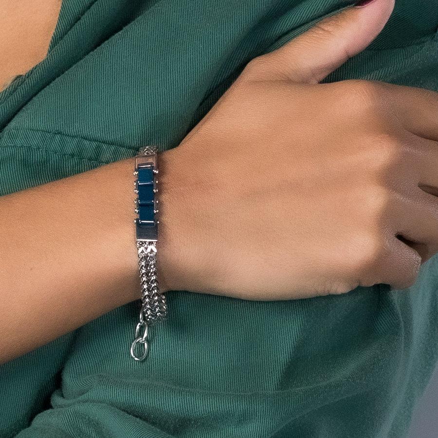 Godina Silver link bracelet with three blue ceramic beads
