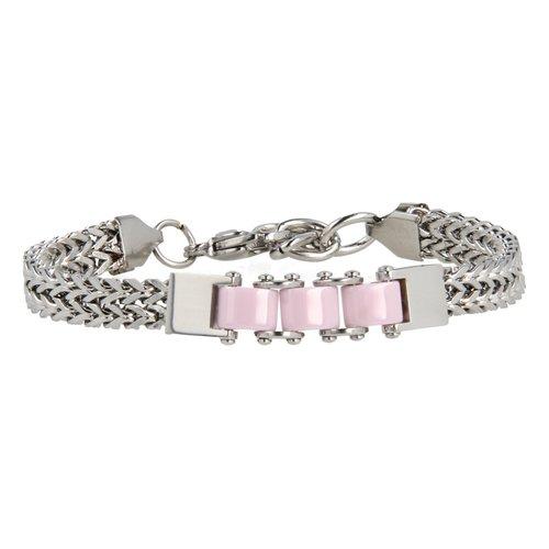 Godina My Bendel stoere zilveren schakelarmband met roze keramiek