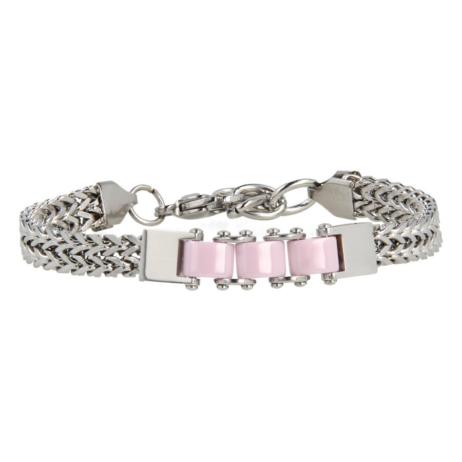 Godina Silver link bracelet with three pink ceramic beads