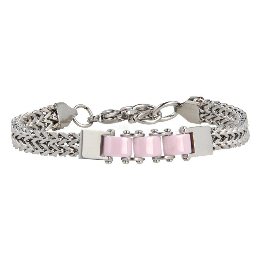 Godina Zilveren schakelarmband met drie roze keramieken bedels