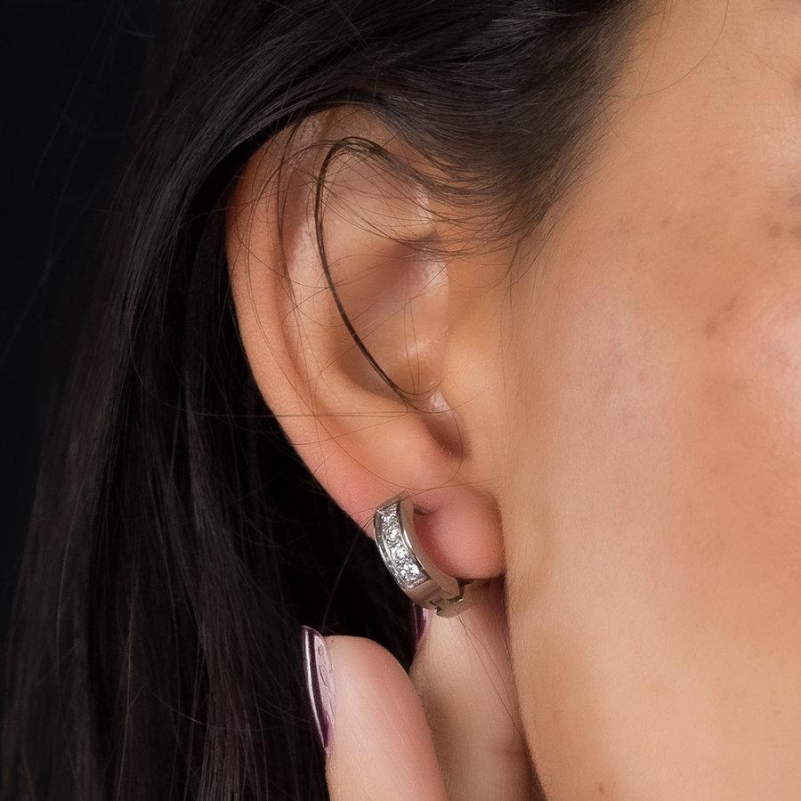 Picolo Minimalistische zilveren ring oorbellen met zirkonia