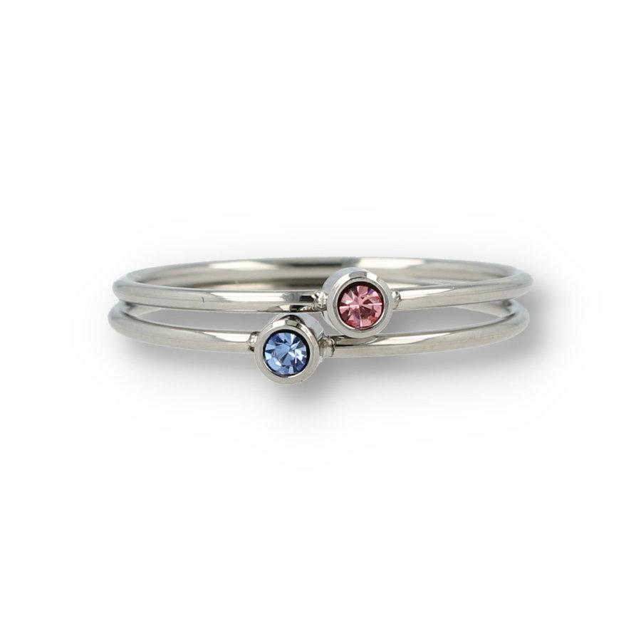 Picolo Feine stapelbare Ringe mit Zirkonoxidsteinen aus dem schönen langlebigen Edelstahl