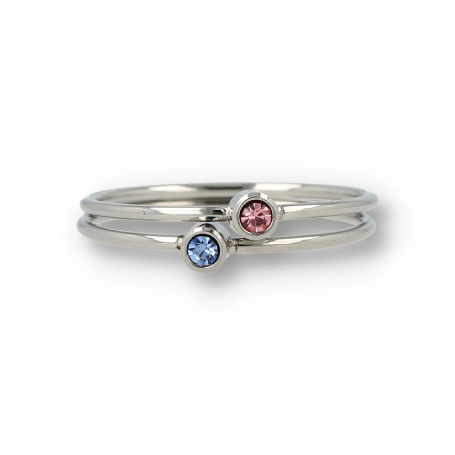 Picolo Fine stackable rings with zirconia stones made of the beautiful long-lasting stainless steel