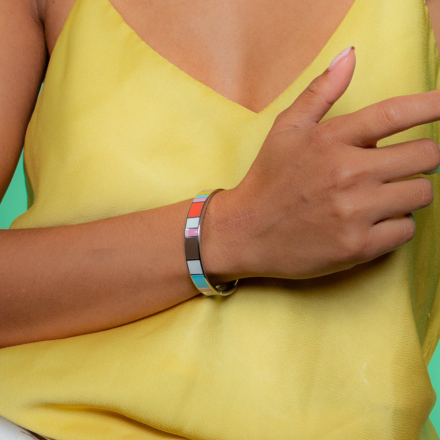 Katina Silver bangle with bright colors