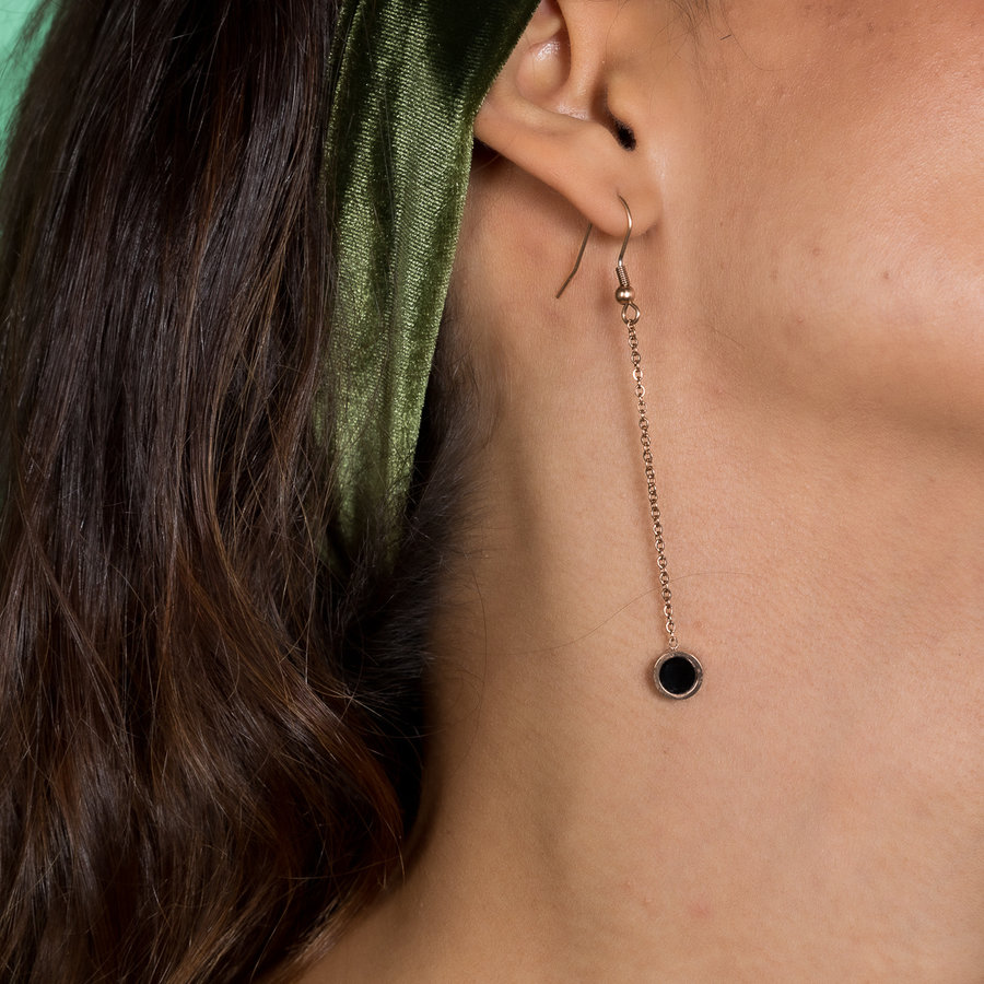 Katina Long rose gold earrings with black and white bead