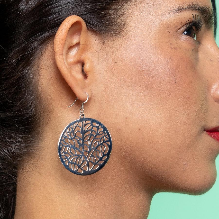 Bless Runde Ohrringe in Silber mit Baum des Lebens