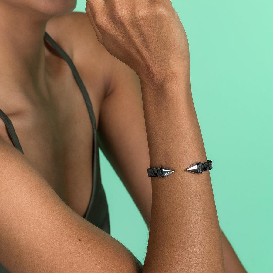 Bless Klemarmband van geweven zwart edelstaal met zilveren punt
