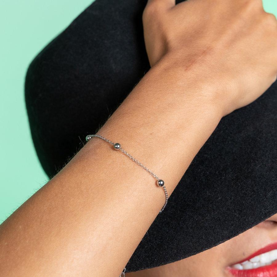 Godina Silver link bracelet with silver beads