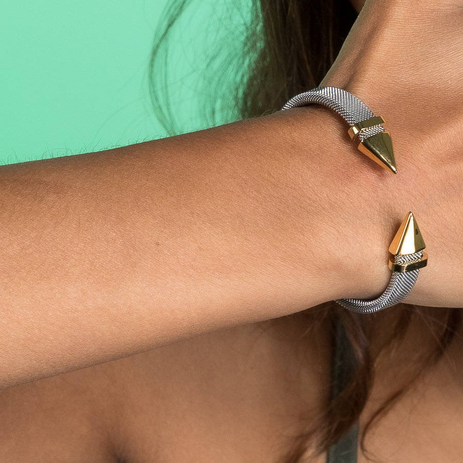 Bless Clip bracelet made of woven silver stainless steel with gold point