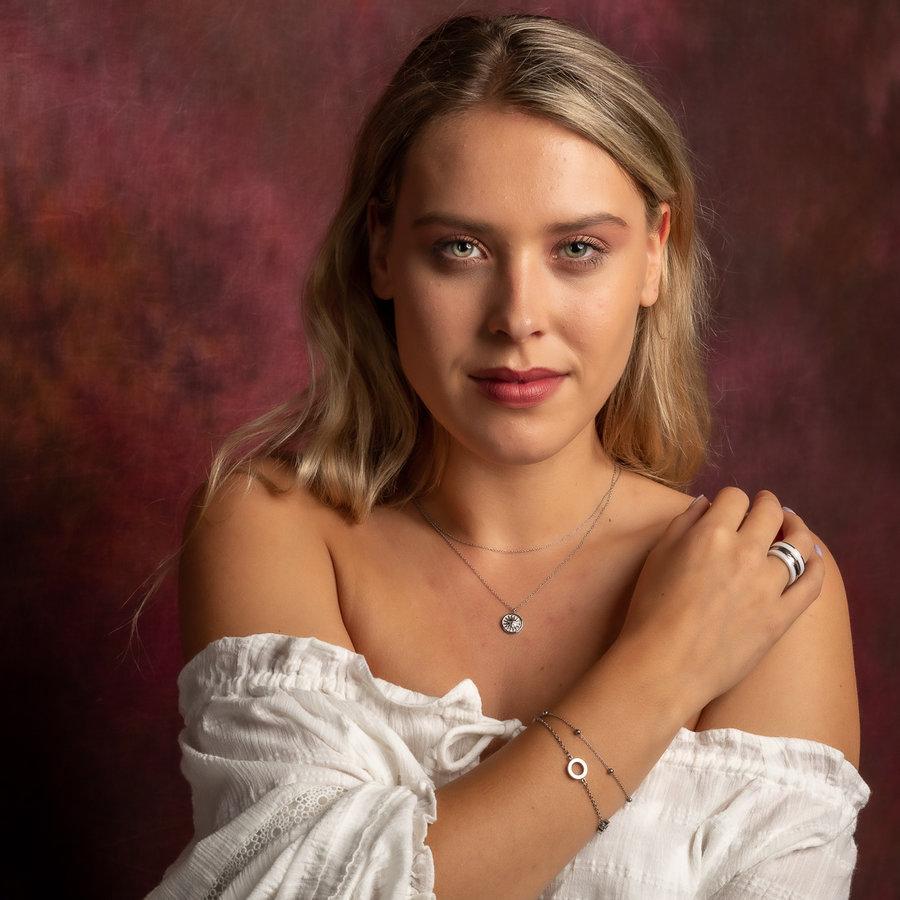 Picolo Dubbele fijne zilveren armband met LOVE details