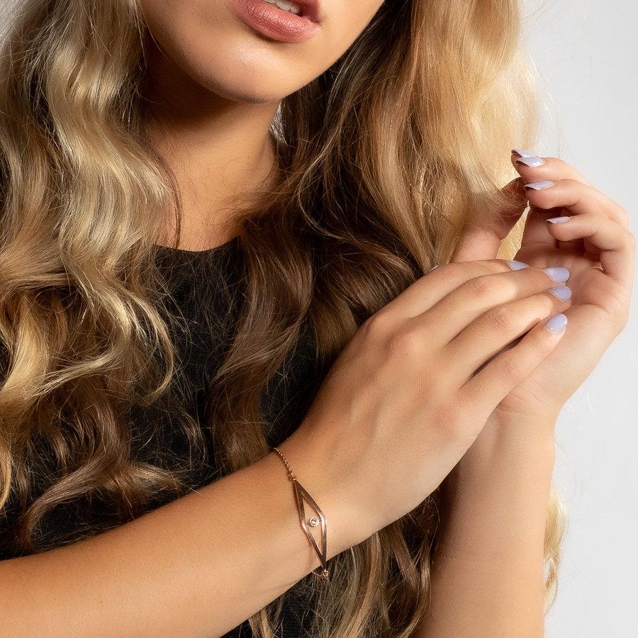 Picolo Fijne rose gouden armbandje met zirkonia bedel
