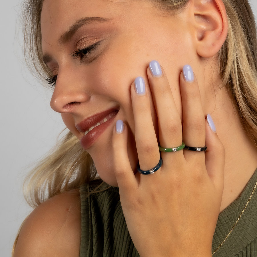 Godina Unbreakable ceramic ring with zirconia stone