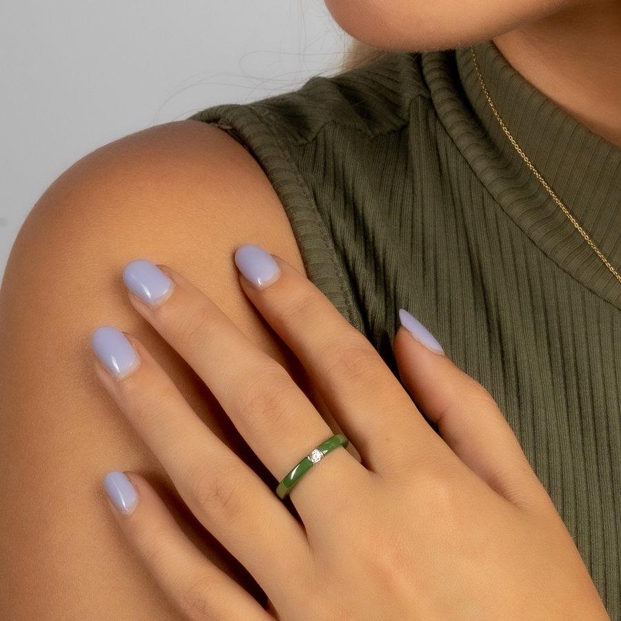 Godina Unzerbrechlicher grüner Ring mit Zirkonoxid