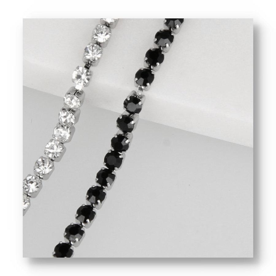 Picolo Silbernes Gliederarmband mit schwarzen Zirkonia-Steinen