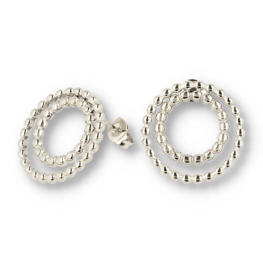 Picolo Silberohrringe mit Perlenkreisen