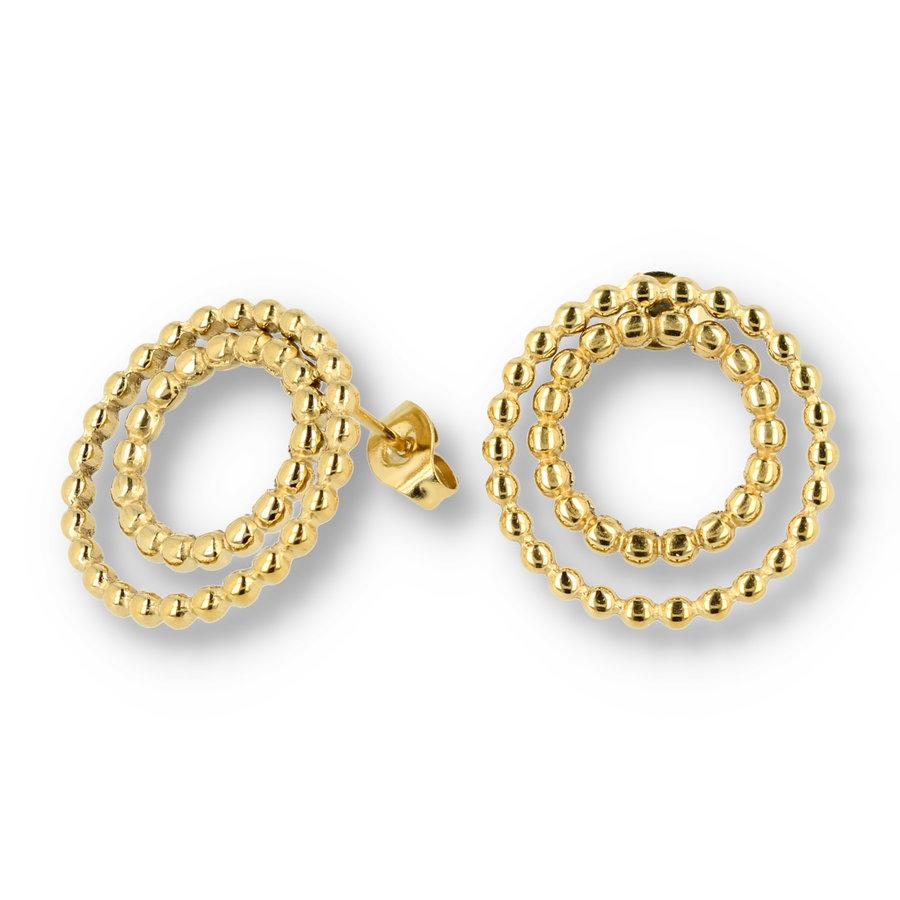 Picolo Goldohrringe mit Perlenkreisen