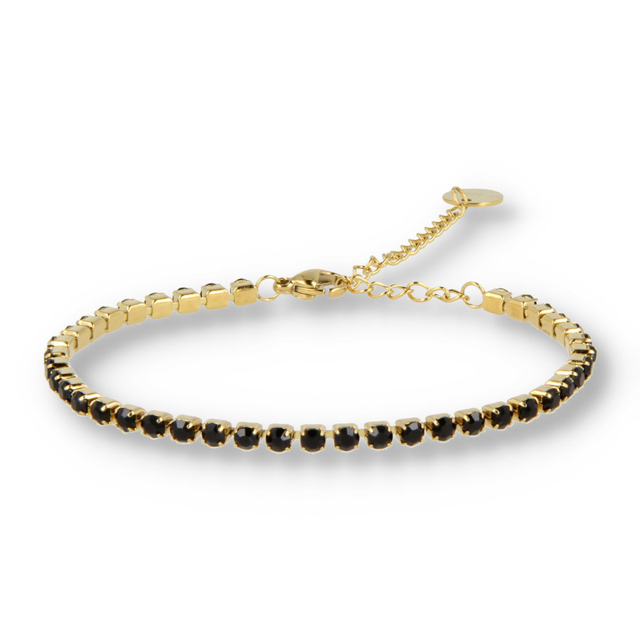 Picolo Gouden schakelarmband met zwarte zirkonia stenen