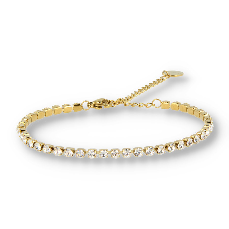 Picolo Gold link bracelet with gold colored zirconia